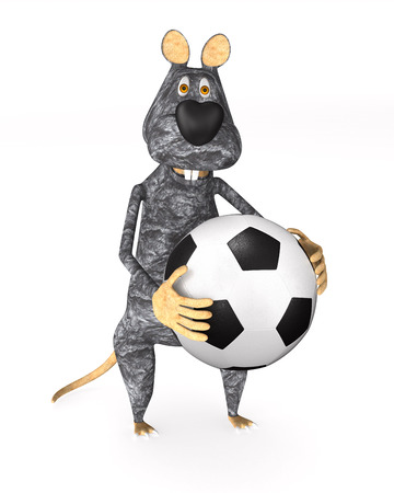 rat with soccer ball on white background. Isolated 3d illustration