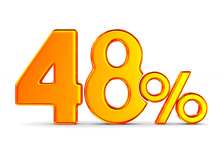 fourty eight percent on white background. Isolated 3D illustration Banco de Imagens - 131302327