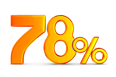 seventy eight percent on white background. Isolated 3D illustration