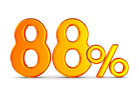 eighty eight percent on white background. Isolated 3D illustration