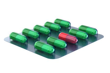 set capsules on white background. Isolated 3D illustration Фото со стока