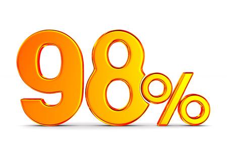 ninety eight percent on white background. Isolated 3D illustration