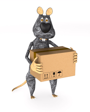 rat with cargo box on white background. Isolated 3d illustration