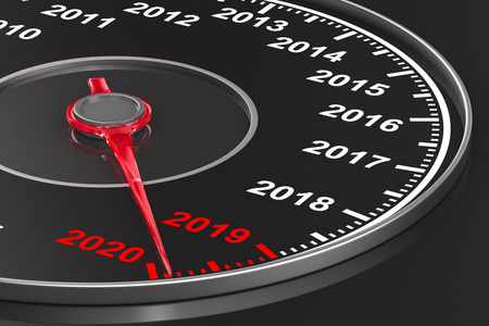 Calendar from speedometer on black background. 3D illustration