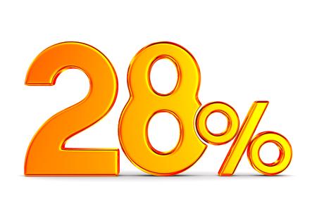 twenty eight percent on white background. Isolated 3D illustration