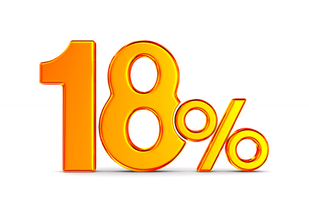 eighteen percent on white background. Isolated 3D illustration Banco de Imagens