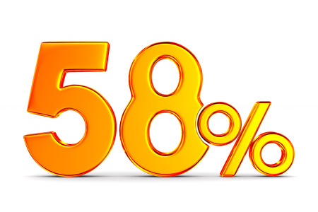 fifty eight percent on white background. Isolated 3D illustration Banco de Imagens