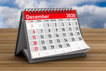 2020 year. Calendar for December. 3D illustration
