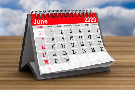 2020 year. Calendar for June. 3D illustration