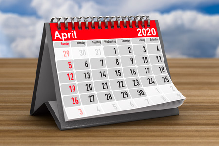 2020 year. Calendar for April. 3D illustration