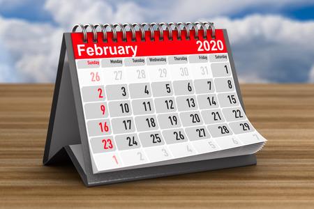 2020 year. Calendar for February. 3D illustration Zdjęcie Seryjne
