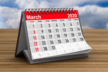 2020 year. Calendar for March. 3D illustration