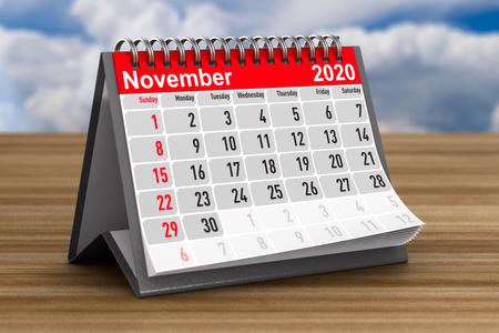 2020 year. Calendar for November. 3D illustration Zdjęcie Seryjne