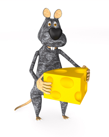 rat with cheese on white background. Isolated 3d illustration