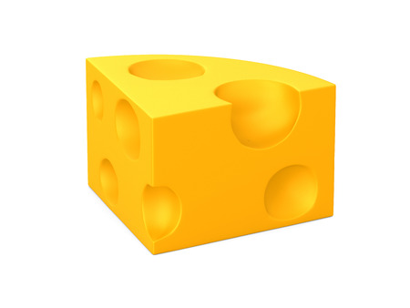 cheese on white background. Isolated 3D illustration