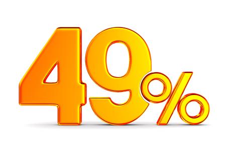 fourty nine percent on white background. Isolated 3D illustration
