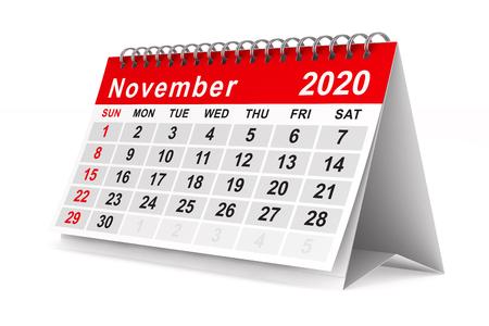 2020 year. Calendar for November. Isolated 3D illustration