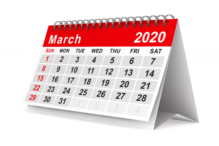 2020 year. Calendar for March. Isolated 3D illustration