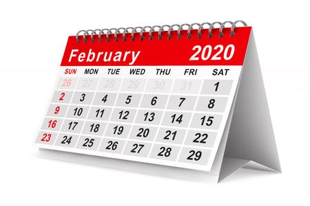 2020 year. Calendar for February. Isolated 3D illustration