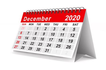 2020 year. Calendar for December. Isolated 3D illustration