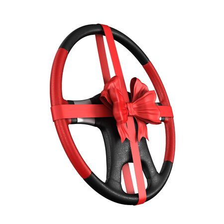 Steering wheel with bow on white background. Isolated 3D illustration Stock Photo