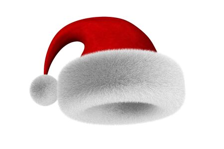 santa claus hat on white background. Isolated 3D illustration Imagens