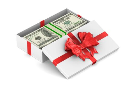open white gift box with money on white background. Isolated 3D illustration