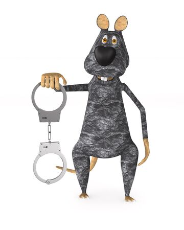 rat and handcuffs on white background. Isolated 3D illustration Banco de Imagens