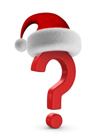 question mark and santa claus hat on white background. Isolated 3D illustration