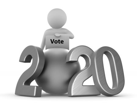 Elections 2020 on white background. Isolated 3D illustration