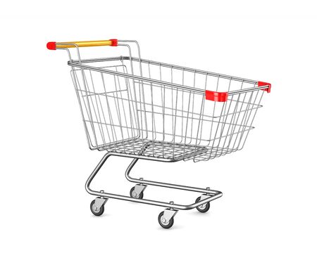shopping cart on white background. Isolated 3D illustration
