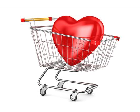shopping cart and heart on white background. Isolated 3D illustration