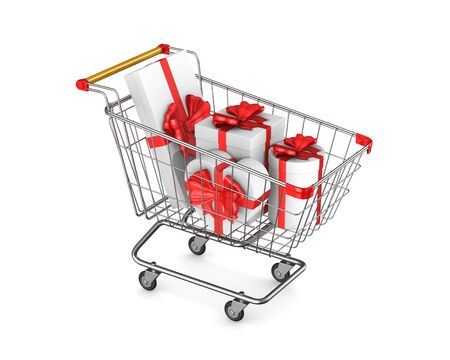 shopping cart and gift box on white background. Isolated 3D illustration