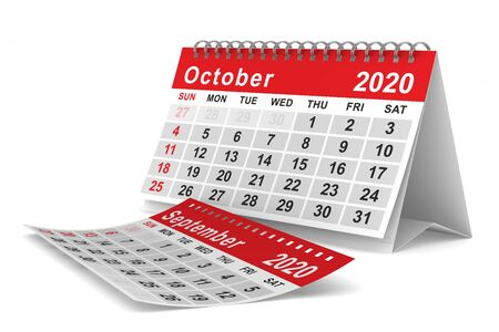 2020 year. Calendar for October. Isolated 3D illustration