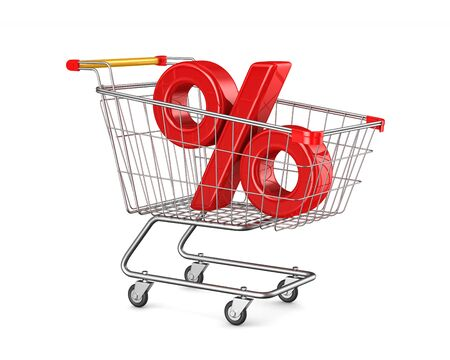 shopping cart and percent on white background. Isolated 3D illustration Stockfoto