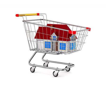 house into shopping cart on white background. Isolated 3D illustration 写真素材