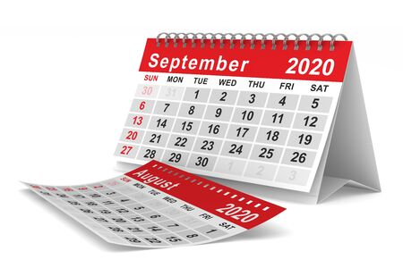 2020 year. Calendar for September. Isolated 3D illustration Stockfoto