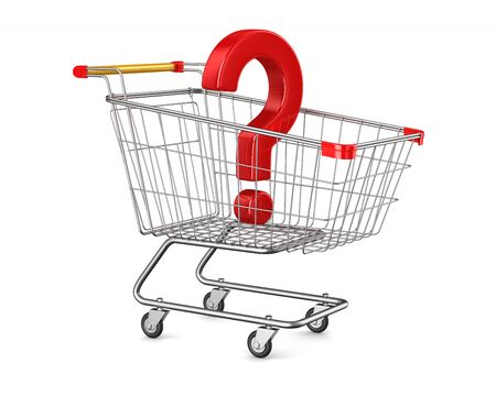 shopping cart and question on white background. Isolated 3D illustration Stockfoto