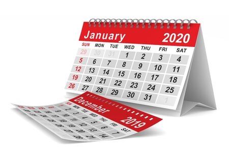 2020 year. Calendar for January. Isolated 3D illustration Stockfoto