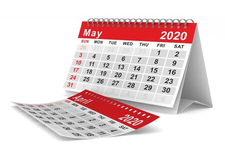 2020 year. Calendar for May. Isolated 3D illustration