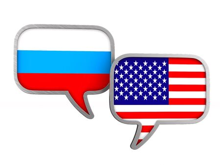 flag USA and Russia on white background. Isolated 3D illustration 写真素材