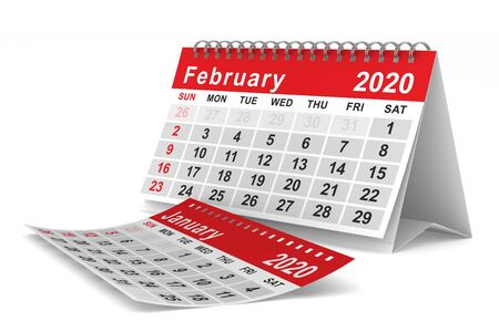 2020 year. Calendar for February. Isolated 3D illustration
