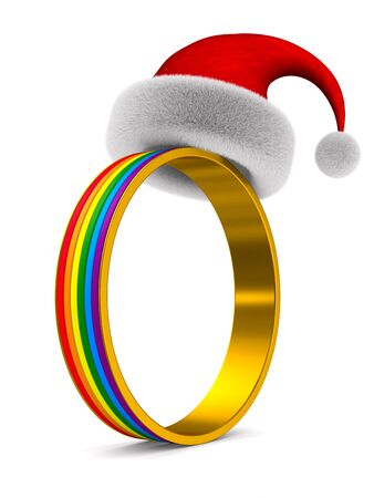 lgbt ring on white background. Isolated 3D illustration