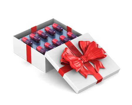 open white gift box with set capsules on white background. Isolated 3D illustration