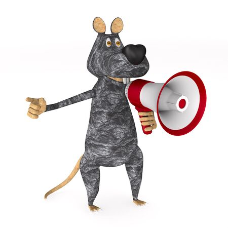rat with megaphone on white background. Isolated 3D illustration