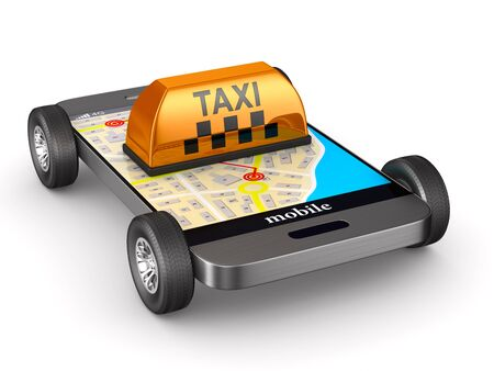 Service taxi on white background. Isolated 3D illustration