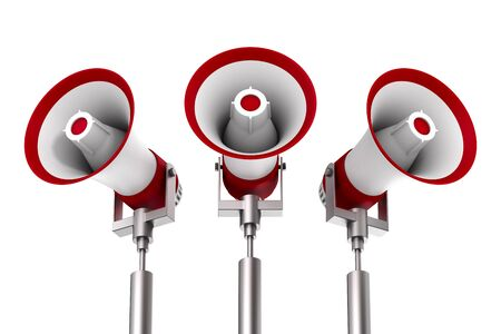 three megaphones on white background. Isolated 3D illustration