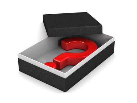 Open package box with question on white background. Isolated 3D illustration Stockfoto