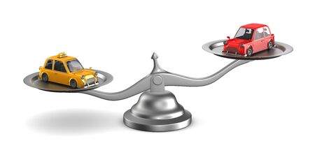 car and taxi on scales. Isolated 3D illustration