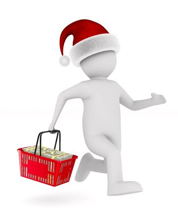 Man with shopping basket on white background. Isolated 3D illustration